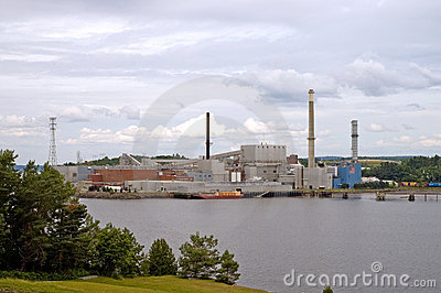 Paper mill on river