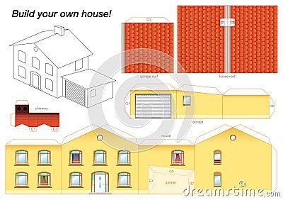 Paper model house yellow stock image image 37491571 - Creation plan maison ...