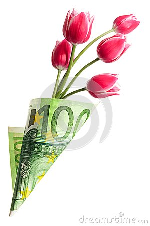 Free Paper Money Bag Out Of One Hundred Euros With Tulip Flowers Royalty Free Stock Photo - 115122625