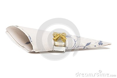 Paper napkin with gold bows