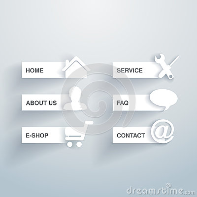 Paper navigation template -  6 menu items, options