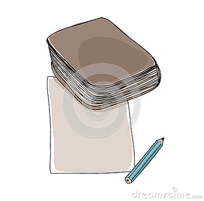 Paper note and book hand drawn cute art illustration Cartoon Illustration
