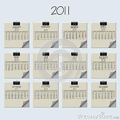 Paper note calendar 2011