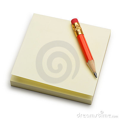 Paper note and a red pencil