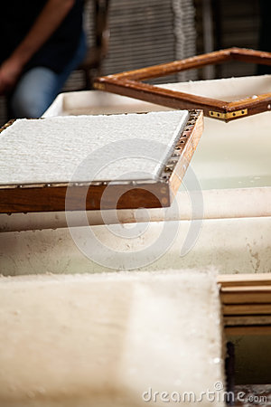 Free Paper On Mold Over Pulp And Water Vat Royalty Free Stock Photos - 58569138