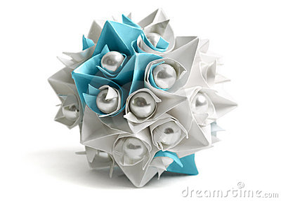 Paper origami ball with pearl, decor element