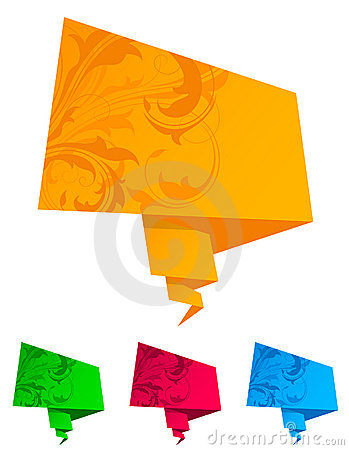 Paper origami speech bubble Vector Illustration