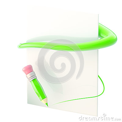 Paper and pencil with green path trace