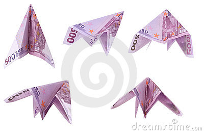 Paper planes from 500 Euro banknotes