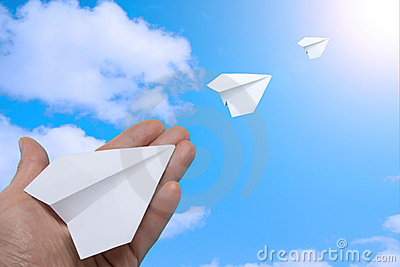 Paper planes in the sky.