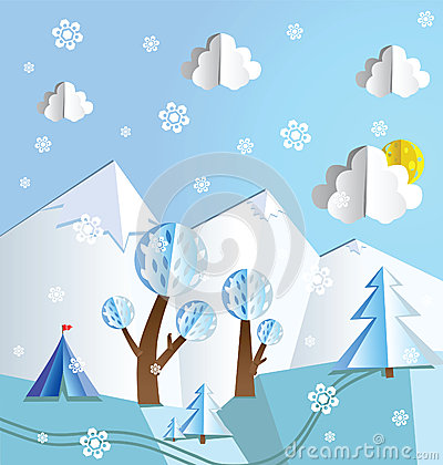 Paper pop up winter landscape