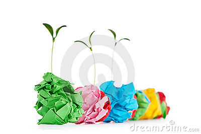 Paper recycling concept - seedlings on white