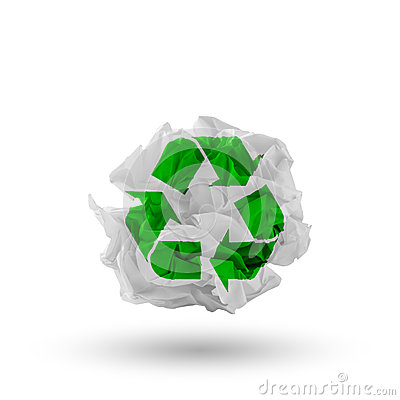 Paper with recycling symbol