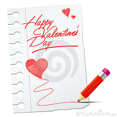 Paper with red pencil and valentines wish