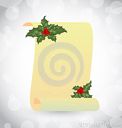 Paper scroll with Christmas holly