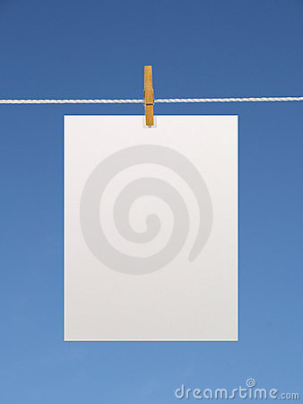Free Paper Sheet On A Clothes Line Royalty Free Stock Image - 2124546