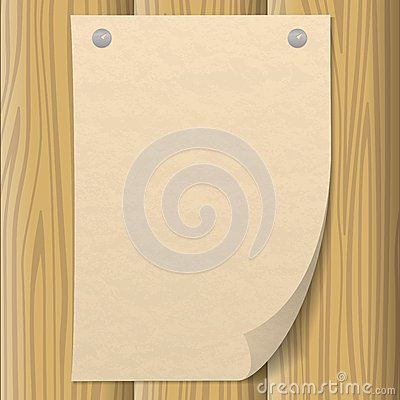 Paper Sheet On Wooden Wall Stock Vector Image 45518614