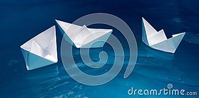 Paper ship fleet