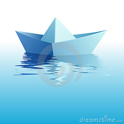 Paper ship on water. Vector illustration