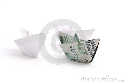 Paper ship on white