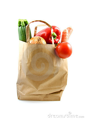 Paper shopping bag with grocery