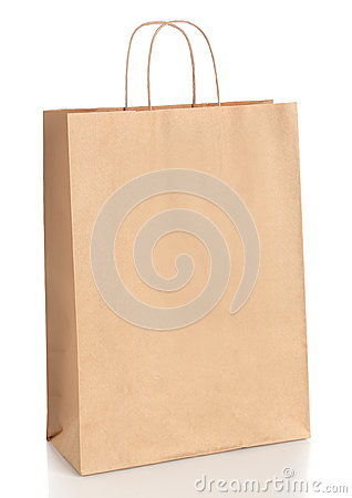 Paper shopping bag with handles over white