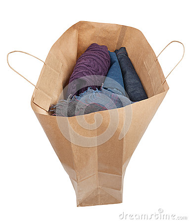 Paper shopping bag isolated full