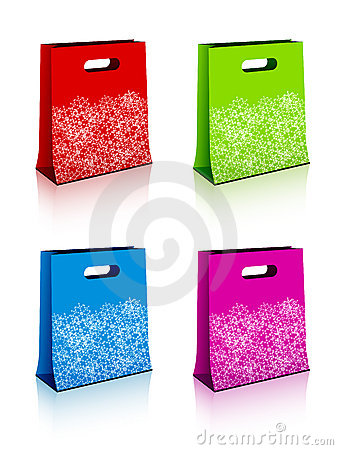 Paper shopping bags with christmas snowflakes