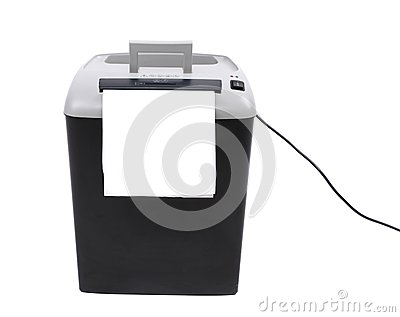 Paper shredder against plain background