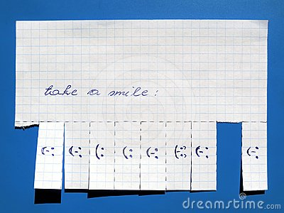 Paper with smile signs
