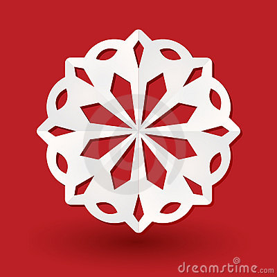 Paper snowflake on red