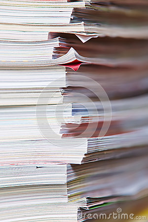 Paper stack from old magazines