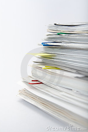 Free Paper Stack On White Background Stock Images - 9465154