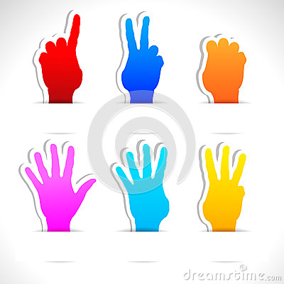 Paper stickers of color hands.
