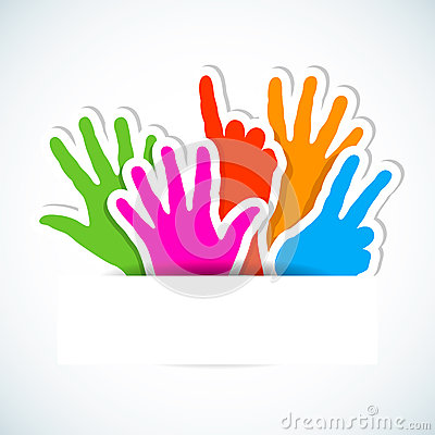 Paper stickers of raised hands.