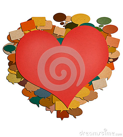 Paper talk red heart image.
