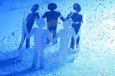 Paper team under rain