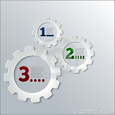 Paper Techno Gears Infographics vector