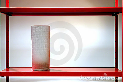 Paper Towel Roll on Red Shelf