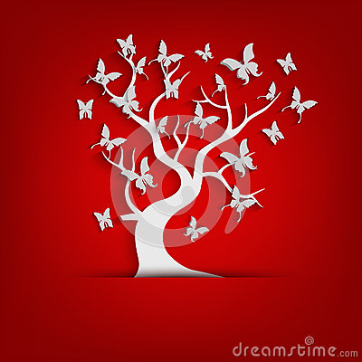 Free Paper Tree And Butterflies On Red Background Royalty Free Stock Images - 70176909