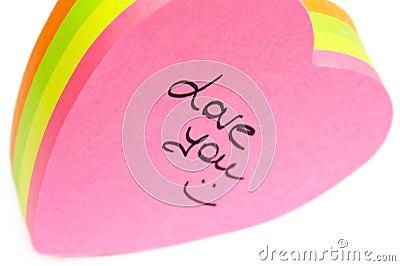 Paper valentine note