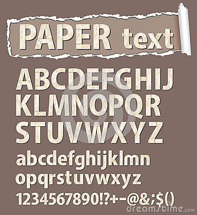 Paper vector font. Letters, numbers and orthograph