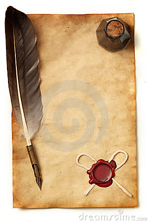 Paper with wax seal, quill & ink