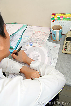Paper work in office