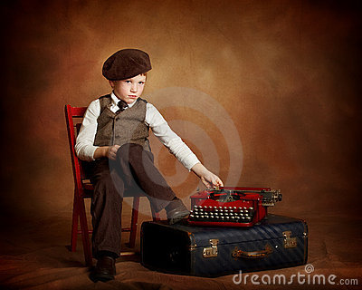 Paperboy with typewriter and suitcase