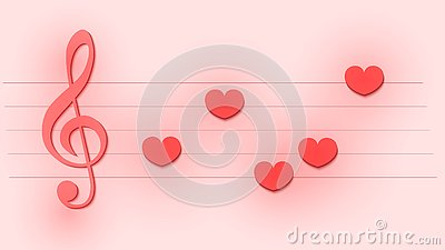 Abstract musical template with treble clef and notes like a hearts for wedding or Valentine`s day card Vector Illustration