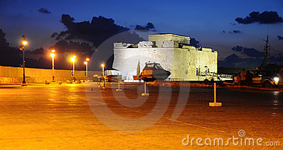 Paphos fort in night