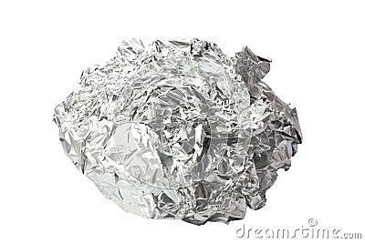Papier d aluminium chiffonné d isolement
