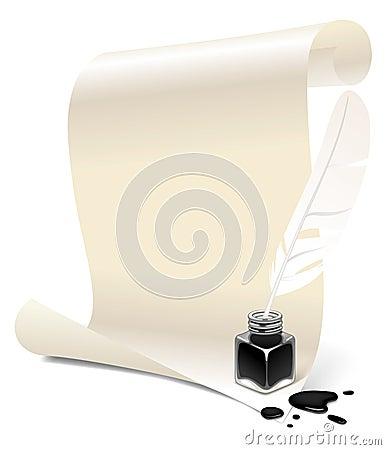 papier mit einem tintenfa und einer feder stockbild bild 11753981. Black Bedroom Furniture Sets. Home Design Ideas