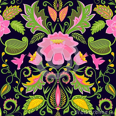 papier peint floral fleuri de vintage avec les fleurs et les oiseaux exotiques illustration de. Black Bedroom Furniture Sets. Home Design Ideas